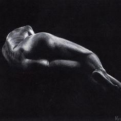 """'Nude' White Pencil on Black Paper #veriapriyatno #drawing"""