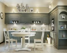 modern kitchens with traditional dining room table   ... Kitchen Countertops with Traditional White Round Dining Table also