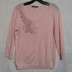 Cable & Gauge Pink Beaded Cardigan Classic three-quarter sleeve cardigan.  Baby pink with silver bead embellishment.  Sweet pink button front.  Cotton modal blend.  Excellent used condition. Cable & Gauge Sweaters Cardigans