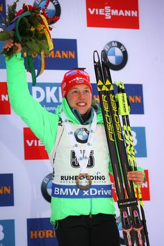 Laura Dahlmeier of Germany takes 3rd place during the IBU Biathlon World Cup Women's Sprint on January 14, 2017 in Ruhpolding, Germany.