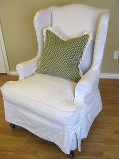 White Slip Cover For Wing Back Chair