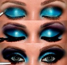 Try Glowing Eye Makeup Ideas with Blue Shadows