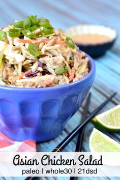 Paleo Asian Chicken Salad makes for an easy and delicious Whole30 lunch. Perfect for on-the-go meals!