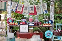 I love sweet tables at a wedding..this one is cute for the Americana theme