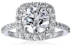 GIA-Certified 14k White Gold Diamond Halo Ring (2 1/2 cttw, G-H Color, SI1-SI2 Clarity) | RIngs Center stone - 2 cttw, Entire Ring - 2 1/2 cttw------ GIA-certified stones have been analyzed by the Gemological Institute of America, which studies a gem's quality and characteristics.--------- All our diamond suppliers confirm that they comply with the Kimberley Process to ensure that their diamonds are conflict free.--------- Beautiful, Elegant Diamond Ring for Engagement and Wedding ---------