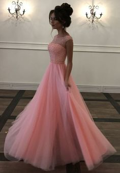 Elegant Tulle Pink Beaded A Line Prom Dress, Long Evening Dress Prom Dresses Long Pink, Prom Dresses With Sleeves, A Line Prom Dresses, Tulle Prom Dress, Cheap Prom Dresses, Evening Dresses, Dress Long, Dress Wedding, Illusion Prom Dresses