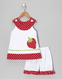 Summery sweet White Strawberry Yoke Top & Shorts - Toddler & Girls by Stellybelly on today! Toddler Girl Dresses, Toddler Outfits, Kids Outfits, Toddler Girls, Kids Girls, Little Girl Dresses, Baby Sewing, Trendy Dresses, Baby Dress
