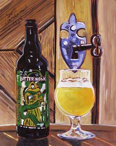 Craft Beer Oil Painting of Bitter Monk IPA by Anchorage Brewing, Alaska Painting, Craft Beer Gift, Gift for Dad, Bar Wall Art, Monastery Art