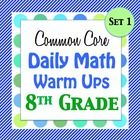 I have created daily warm ups with questions included from my popular 8th grade Common Core Math Assessments Test.  This file contains 20 warm ups ...