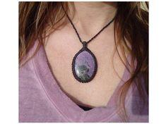 Purpurite Necklace/Innocence/Lilac/Lavender/Rare Stone/Macrame
