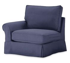 PB Comfort Roll Arm Slipcovered Left Arm Chair, Box Edge Polyester Wrapped Cushions, Organic Cotton Twill Navy