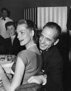 Humphrey Bogart and Lauren Bacall enjoying themselves.