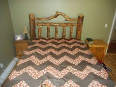 Queen size Quilt made for my husband, it is a Chevron Pattern.