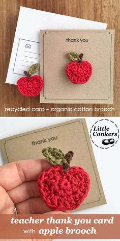 Eco-friendly personalisable thank you card with hand-crocheted apple brooch. Lovely personalised gift for you favourite teacher. card with cotton brooch by Little Conkers. Crochet Flower Tutorial, Crochet Flower Patterns, Crochet Designs, Crochet Flowers, Scarf Patterns, Knitting Patterns, Crochet Gifts, Diy Crochet, Hand Crochet