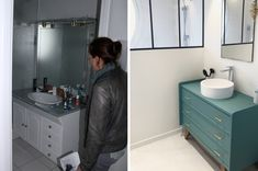 Du béton ciré pour la rénovation de notre salle de bain ! - Barnabé aime le café Vanity, Bathroom, Master Bathroom Vanity, Dressing Tables, Washroom, Powder Room, Vanity Set, Full Bath, Single Vanities