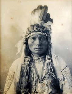 Platinum Print Photograph – Three Fingers, Cheyennes (titled ctr., btm); by Frank Albert Rinehart (American Feb. 12, 1861-Dec. 17, 1928), famous for his drawings, paintings & photographs depicting Native American personalities and scenes, especially the leaders and members of the delegations who attended the 1898 Indian Congress in Omaha. Copyright, 1898
