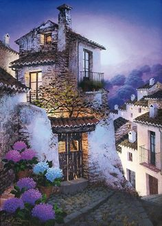 beautiful, peaceful, soothing atmosphere and colours by Luis Romero, Spanish painter Spanish Painters, Spanish Artists, Pintura Exterior, Image Nature, Fantasy Places, Art Graphique, Spray Painting, Painting Art, Pablo Picasso
