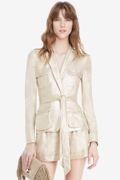 DVF Hilda Belted Metallic Suede Jacket