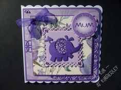 Mother's Day card using Tattered Lace 'Little Monsters' elephant die. Little Monsters, Baby Cards, Projects To Try, Elephant, Lace, Handmade, Hand Made, Elephants, Racing