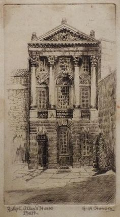 Antique Print of Ralph Allen's House in Bath by F.R.Hanson