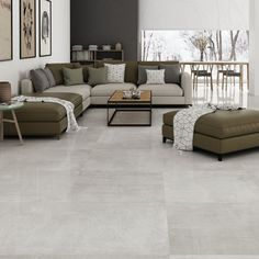 Polished Cement Effect Grey Porcelain Floor Tile Best Picture For white floor tile For Your Taste You are looking for something, and it is going to tell you exactly what you are looking for, and you d Living Room White, Living Room Modern, My Living Room, Living Room Designs, Tiles For Living Room, Modern Flooring, Grey Flooring, Polished Cement Floors, Concrete Look Tile