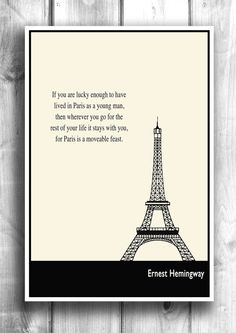 Typographic Print Paris, Hemingway - By Lit101