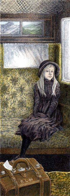 Mary sat in the corner of the railway carriage. The Secret garden by Inga Moore 2007. Book author: Frances Hodgson Burnett.