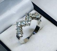 Vintage Ringe - 20,2 mm Ring 925 Silber Kristalle hellblau SR344 - ein Designerstück von Atelier-Regina bei DaWanda