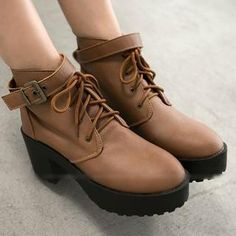 Lace-Up Chunky-Heel Ankle Boots from #YesStyle <3 FM Shoes YesStyle.com