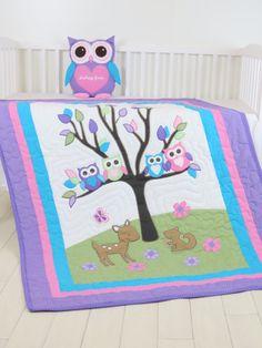 Manta del bebé búho y lechuza almohada, manta edredón de cuna, manta hecha a mano orgánica buho del edredón, rosado, púrpura, verde, aqua