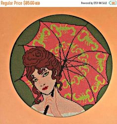 ON SALE Needlepoint Southern Belle Scorpion Umbrella Green Eyed Lady OOAK Finished Framed by EclecticVintager on Etsy