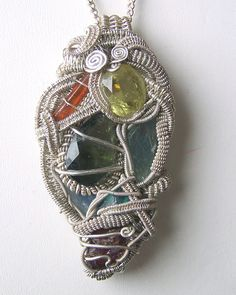 Crystal Wire Wrap pendant necklace Faceted by mandalarain on Etsy, $620.00