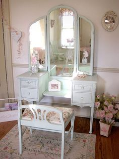 Found a vanity similar to this at a garage sale this weekend. Was thinking that I wanted to have it restored to original, but think I have changed my mind and want to paint it instead :)