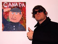 Artist with portrait of Harper