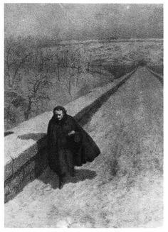 "Poe Walking High Bridge by B.J. Rosenmeyer; from ""The Portraits and Daguerreotypes of Edgar Allan Poe"" / M.J. Deas"