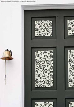 Scroll Allover Furniture Stencil on Doors | Stencil by Royal Design Studio