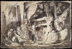 Pablo Picasso. Blind Minotaur led by a little girl. 1934 year