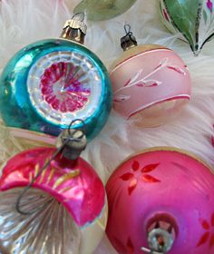vintage christmass three ornaments from the 80s
