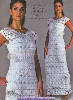 Vestido blanco …ideal para lucir en estas fiestas…hacelo del largo que vos quieras   Mi Rincon de Crochet