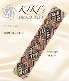 $ Bead loom pattern - Ethnic fall LOOM bracelet pattern in PDF two lengths - instant download de KikisBeadArts en Etsy https://www.etsy.com/es/listing/273089078/bead-loom-pattern-ethnic-fall-loom