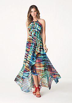 rainforest Print Chiffon Halter Gown #bebe