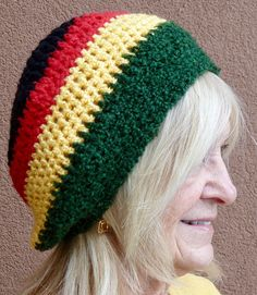Bohemian hat with Rasta colors crochet winter hat for Reggae Crochet Winter Hats, Crochet Hats, Rasta Colors, Bohemian Accessories, Unique Crochet, Green Cotton, Hats For Women, Knitted Hats, Handmade