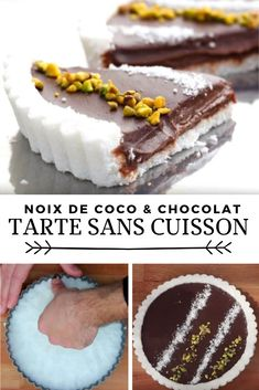 Coconut and chocolate tart without cooking Girl Cooking, Chocolate Desserts, No Bake Desserts, Diy Food, Cookie Decorating, Sweet Recipes, Food And Drink, Cooking Recipes, Yummy Food