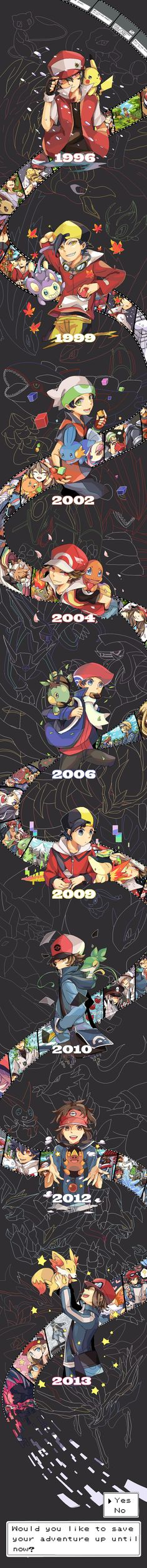 Would you like to save your adventure up until now? Pokemon Red & Green to Pokemon X & Y.