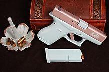 Glock 42 in Metallic Tiffany Blue and Titanium w Monogram