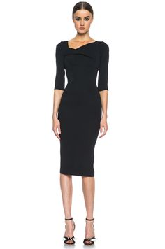 ROLAND MOURET | Sirius Viscose-Blend Dress in Black