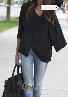 Ripped jeans + shirt + blazer