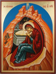 Hand-painted icon of the Nativity of Our Lord and Savior Jesus Christ