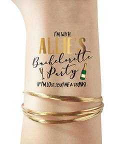 Bachelorette Party tattoos - PERSONALIZED CUSTOMIZED - champagne bottle champagne glass - temporary tattoos gold tattoos bride tribe squad - Thinks Tatto Bachelorette Party Themes, Bachelorette Weekend, Disney Bachelorette, Bachelorette Shirts, Party Tattoos, Squad, Custom Temporary Tattoos, Brides With Tattoos, Gold Tattoo