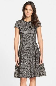 Maggy London Scallop Lace Fit & Flare Dress available at Maggy London – Scallop – Spitzenkleid und Flare-Kleid Ich Simple Dresses, Cute Dresses, Casual Dresses, Fashion Dresses, Short Sleeve Dresses, Fit And Flare, Fit N Flare Dress, Mode Batik, Batik Dress